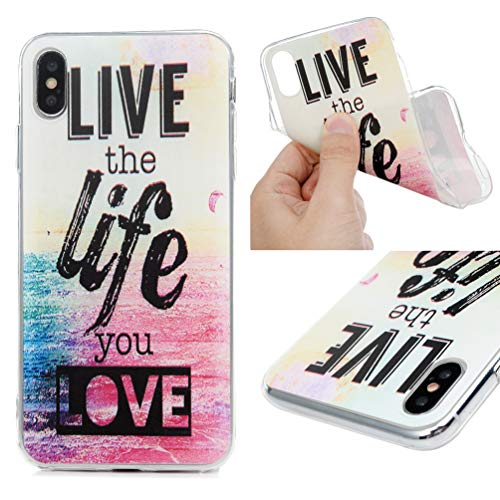 iPhone Xs Max 6.5 Case, MOTIKO Clear Transparent Sea Painted Gel Silicone Shock Absorption Bumper Soft Flexible Rubber TPU Anti-Scratch Clear Back Protective Cover for iPhone Xs Max 6.5
