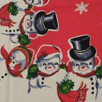 Snowman Snowmen Snow buddies Snowbuddies Vintage Christmas Tablecloth
