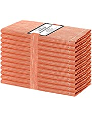 Baumwolle-Klinik 12 Stuks diner servetten 46 x 46 cm, stoffen servetten 100% Slub katoen, bruiloft servetten, zachte en machine wasbare set van 12 doek diner servetten oranje