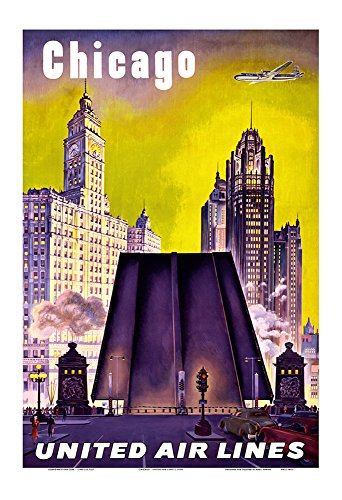 Chicago - United Air Lines - The Tribune Tower, Wrigley Building, and Michigan Avenue Bridge - Vintage Airline Travel Poster c.1950s - Master Art Print - 13in x 19in