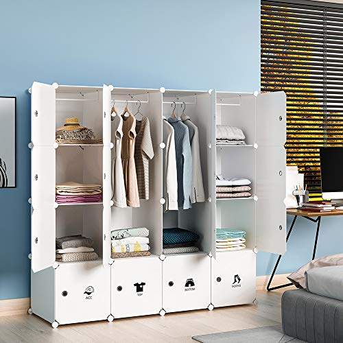 KOUSI Portable Wardrobe Closet for Bedroom Clothes Armoire Dresser MultiFuncation Cube Storage Organizer, White, 10 Cubes 2 Hanging Sections