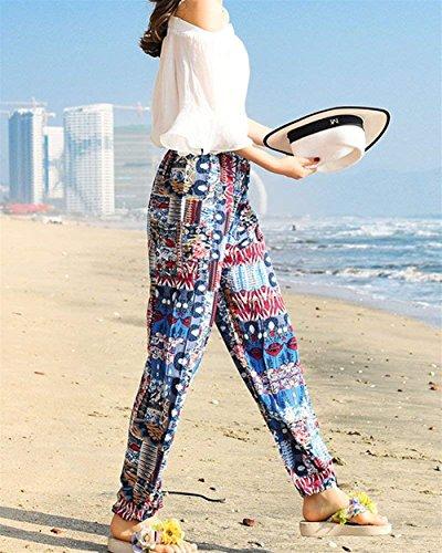 Tempo Libero Pantaloni Semplice Eleganti Glamorous Bild Sciolto Fashion Boho Leggero Pantaloni Di Pantaloni Pantaloni Peso Vita Donna Pantaloni Als Harem Elastica Estivi Stampato Mare Lanterna Hippie Etnico 8wzRzq