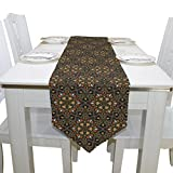 Blue Viper Floral In Arabian Style Table Runner Home Décor for Weddings, Dinners, Parties, or Summer BBQ Double-Sided Printing 13x70 Inches