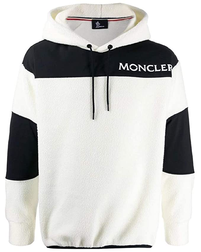 Moncler Men's Ivory Fuzzy Pullover Jacket Hoodie (S)