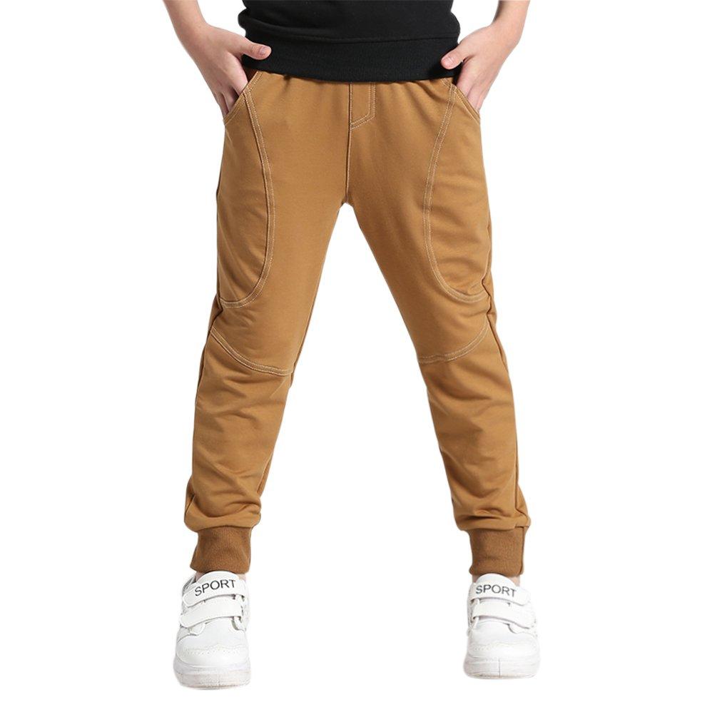 LOKTARC Kids Boys Pull On Cuffed Jogger Pants Cotton Fleece Sweatpants