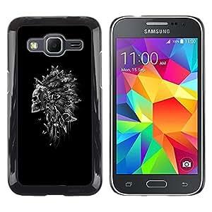 Be Good Phone Accessory // Dura Cáscara cubierta Protectora Caso Carcasa Funda de Protección para Samsung Galaxy Core Prime SM-G360 // Indian Feather Headdress Black Skull