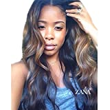 ZANA Body Wave Brazilian Hair Glueless Lace Front Human Hair Wigs for Black Women Full Lace Front Wig with Baby Hair (24'' Lace Front Wig, T#1B/#33/#30) Ombre pattern may vary from what is shown on the images