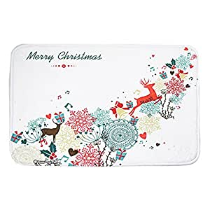 Lily de regalo Navidad ciervos Felpudo alfombra 16x 24pulgadas Poliéster antideslizante absorción de agua baño manta alfombra