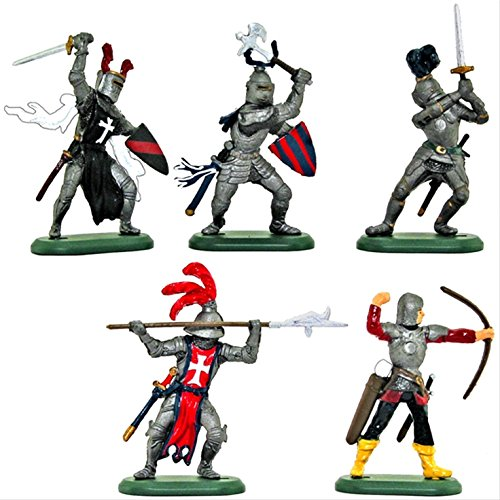 Britains Deetail Medieval Knights Toy Soldiers Set of 5 Hand Painted Plastic Figures on Metal Base ()