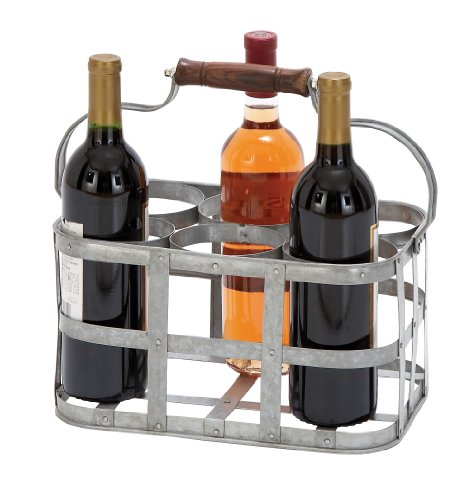 Deco 79 Farmhouse 6-Slot Metal Wine Holder with Handle, One Size, Galvanized Gray -