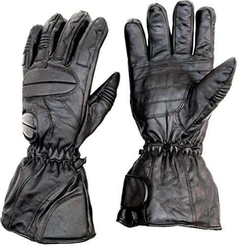 Premium Leather Snowmobile Gloves Gauntlet Snow Ski Cold Weather ( M Medium )