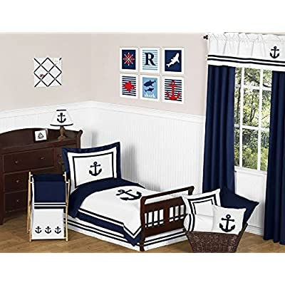 Anchors Away Nautical Navy and White Decorative Accent Throw Pillow: Baby