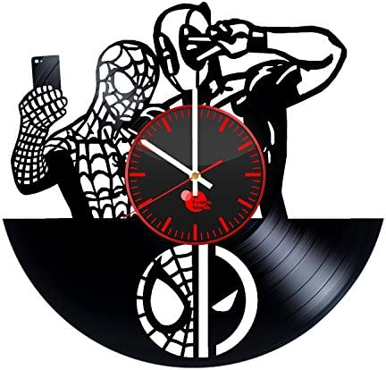 TO Design Studio Spiderman and Deadpool Handmade Vinyl Record Wall Clock Fun Gift Vintage Uniq.