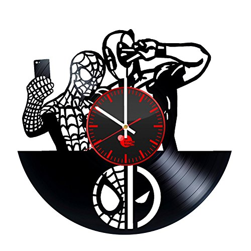 Spiderman and Deadpool Handmade Vinyl Record Wall Clock Fun gift Vintage Uniq...