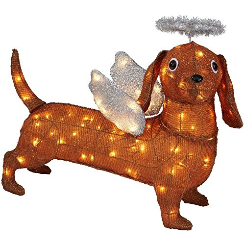 "Christmas 26"" Lighted Brown Tinsel Weiner Dog Dachshund S..."