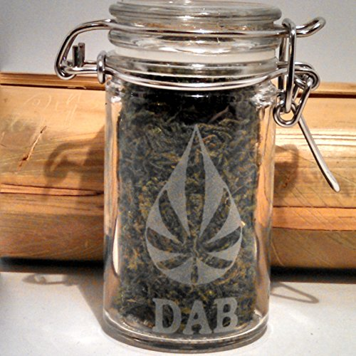 Twisted420Glass Dab Jar - Cannabis Oil Shatter Etched Glass Honey Hash Oil Jar - Wax Stash Jar