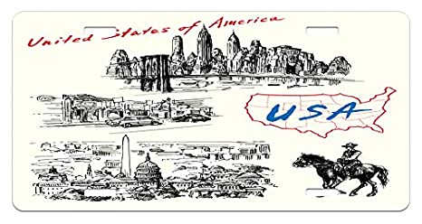 Hand Drawn Us Map.Amazon Com Ambesonne American License Plate Hand Drawn Usa Map