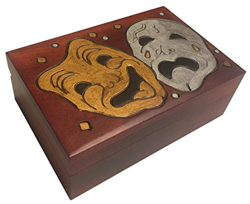 Comedy Tragedy Masquerade Mask Wooden Box Handmade Linden Wood Theater Keepsake Theater Tickets Holder Box Idea