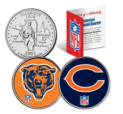 CHICAGO BEARS * Retro & Team Logo * Illinois Quarters 2-Coin US Set NFL LICENSED