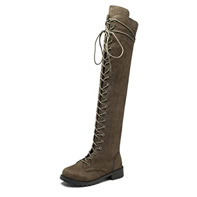 757103585 Inornever Women's Over The Knee Pull On Boots Thigh High Low Heel Faux  Suede Lace Up