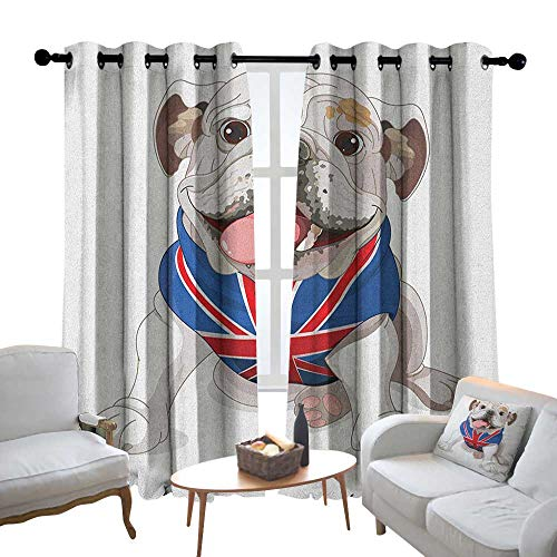 Lewis Coleridge Decorative Curtains for Living Room English Bulldog,Happy Dog Wearing a Union Jack Vest Cartoon Style Animal Design, Cream Navy Blue Red,Blackout Draperies for Bedroom ()