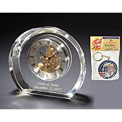 AllGiftFrames Personalized Moon Crystal Desk Table Clock Da Vinci Dial Gold Text Etching Engraved Shelf Corporate Retirement Gift Employee Recognition Service Award Wedding Present