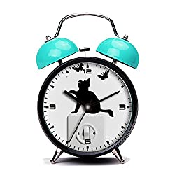 Blue Alarm Clock, Retro Portable Twin Bell Beside Alarm Clocks with Nightlight-113.Cat, Kitten, Pet, Domestic Cat, Cat Baby, Young Cat(2)