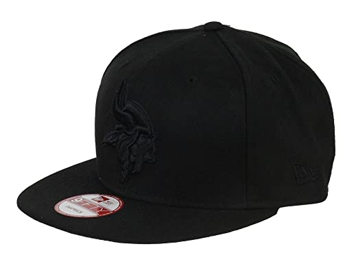the latest 8d372 76974 Image Unavailable. Image not available for. Color  New Era NFL Minnesota  Vikings Black On Black Snapback Cap 9fifty Limited Edition