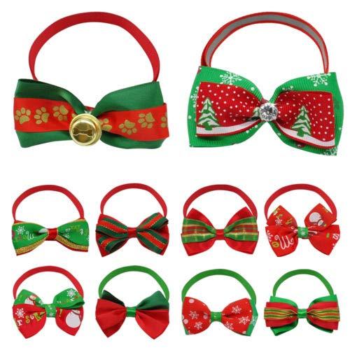 FidgetKute 10 100pcs Christmas Dog Bow Tie Collar Pet Cat Puppy Necktie Christmas Accessory Christmas Mixed colors 40pcs