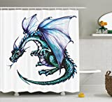 Ambesonne Dragon Decor Collection, Epic Beast Dragon Created with Vibrant Gradient Colored Graphic Work Ethnic Devil Image, Polyester Fabric Bathroom Shower Curtain Set with Hooks, Teal Purple