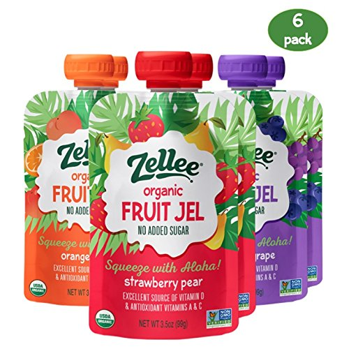 Zellee Organic Fruit Jel Snack Pouch- Organic & Non-GMO, Gluten-Free, Vegan, Plant-Based, Healthy Fruit Jel Made with Real Fruit, No Added Sugar; Alternative to Jello, 3.5 oz fruit pouches