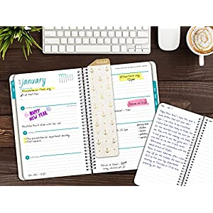 Best Planner 2018 Agenda for Productivity, Durability and Style. 5x8 Daily Planner / Weekly Planner / Monthly Planner / Yearly Agenda. HARDCOVER Organizer with BOOKMARK and JOURNAL (Gold Anchors)
