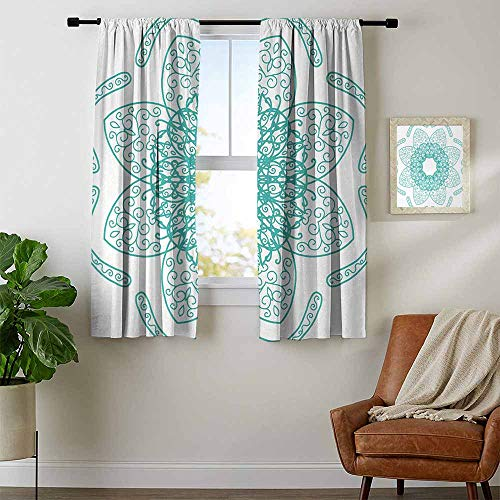 - youpinnong Arabesque, Kitchen Curtains Valances, Persian Style Oriental Floral Pattern with Middle Eastern Authentic Bohemian Effects, Curtains for Bathroom, W63 x L45 Inch Seafoam