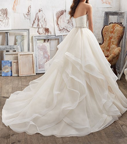 Dressylady Timeless Sweetheart Ruched Organza Ball Gown Wedding Dress 2017
