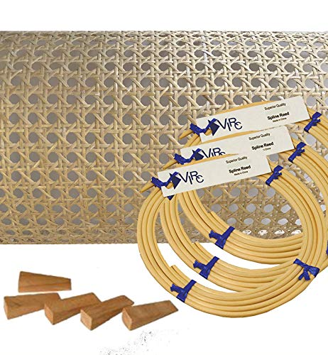 """Pressed Cane Webbing Kit 3/4"""" Medium Open Mesh with splines, Wedges and Instructions"""