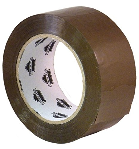 Tan/Brown Acrylic Machine Packing Tape - 2'' Width x 1000 yd Length - 2.0 Mil, 3'' Core - 12 Rolls by Shield