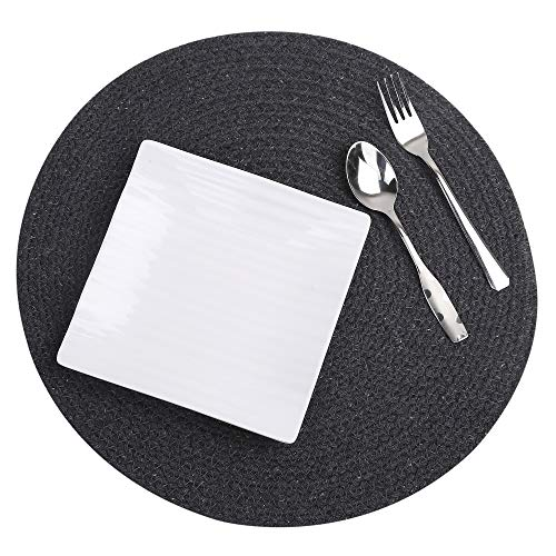 - RAJRANG BRINGING RAJASTHAN TO YOU Cotton Woven Round Placemats - Fine Dining Restaurant Charger Plates Kitchen Table Accessories - Set of 6 Mats - Charcoal Grey