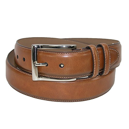 Danbury Men's Leather Cognac Double Loop Belt, 36, Tan
