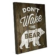 Wood Textured White Don't Wake The Bear Canvas Art Print Wall Décor 8x10