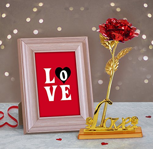 24k Gold Plated Frame - TiedRibbons Quoted Wooden Photo Frame(Image Replaceable) with 24K Gold Plated Rose Anniversary Birthday Romantic Gifts for Girlfriend Wife Her Women Girls