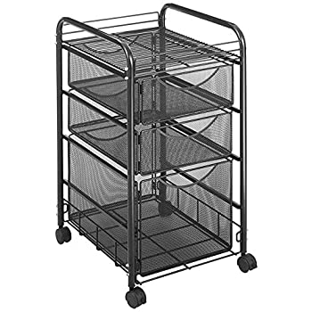 Safco Products Onyx Mesh 1 File Drawer and 2 Small Drawers Rolling File Cart 5213BL, Black Powder Coat Finish, Durable Steel Mesh Construction, Swivel Wheels For Mobility