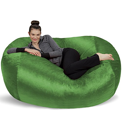 Sofa Sack - Plush Bean Bag Sofas with Super Soft Microsuede Cover - XL Memory Foam Stuffed Lounger Chairs for Kids, Adults, Couples - Jumbo Bean Bag Chair Furniture - Lime 6' ()