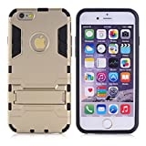Cuitan 2 in 1 Dual Layer Hybrid Case for iPhone 6 / 6S, TPU Soft Bumper and PC Hard Back Cover Built-in Kickstand Design Armor Rugged Defender Protective Shell Cover Protection Sleeve with Stylus (Random Color) for Apple iPhone 6 / 6S 4.7 inch - Gold