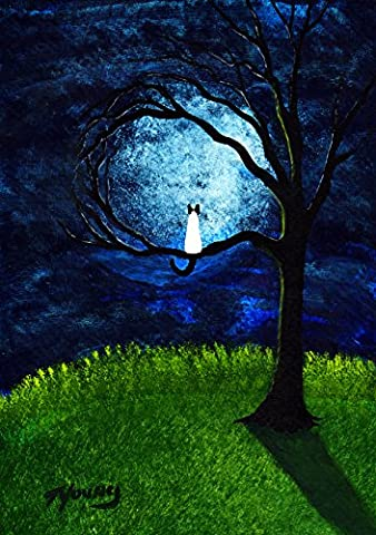 Siamese Cat Seal Point Folk art PRINT by Todd Young MOONLIGHT TREE - Seal Point Siamese Cats