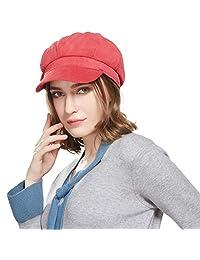 WELROG Corduroy Newsboy Hat Women Adjustable Octagonal Cap Visor Fall Beret Cap