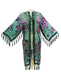 Aris A. Women's Mystic Garden Velvet Burnout Kimono with Tassels