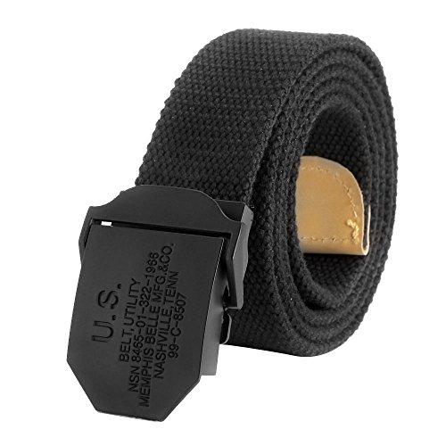 Ayliss® Militär Herren Stoffgürtel Leinwand Canvas Stoff Gürtel Jeansgürtel Belts 125cm (Schwarz)