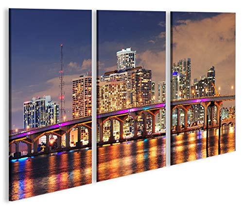 Quadro moderno Miami Beach Skyline V3 Florida 3P Impresión ...