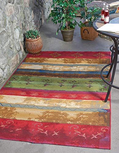 Unique Loom Outdoor Modern Collection Colorful Striped Botanical Transitional Indoor and Outdoor Flatweave Multi Area Rug 4 0 x 6 0