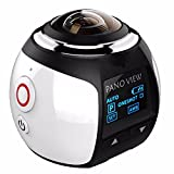 OUTERDO Sport Camera Wireless 360 Degree Panoramic Camera 3D VR Action Sports Camera Wifi 16MP HD 30fps Waterproof 230° Large Lens Mini DV Camera white